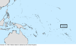 Map of the change to the United States in the Pacific Ocean on October 15, 1864