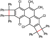 cyclobutabenzene with a bond length in red of 174 pm