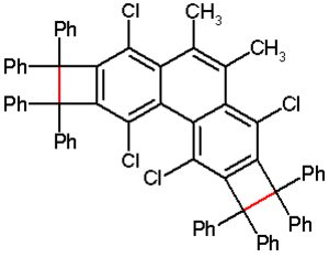 Bond length - Cyclobutabenzene with a bond length in red of 174 pm