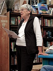 Le Guin giving a reading in 2008