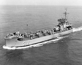 Landing Ship Medium - USS Pee Dee River (LSM(R)-517), of the LSM(R)-501 class, underway in 1954