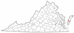 Location of Exmore, Virginia