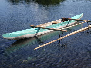 Ama (sailing) - A typical fishing canoe (va'a) of Samoa, showing a simple ama for balance.