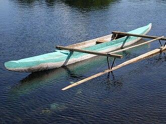 Ama (sailing) - A typical fishing canoe (va'a) of Samoa, showing a simple ama for balance.