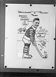 "Vancouver (Millionaires) Hockey Team, Vancouver Hockey Club copy of photocaricature of Duncan ""Mickey"" Mackay.jpg"