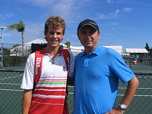 Vasek Pospisil - Vasek (age 15) with his father and coach, Miloš Pospíšil, in Bradenton Florida 2005