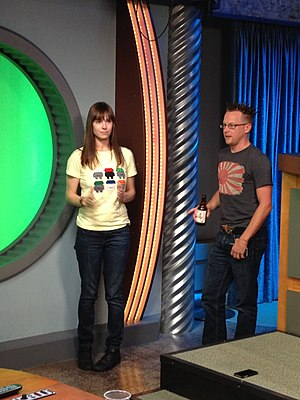 Brian Brushwood - Veronica Belmont and Brushwood preparing preparing for the Game On! internet show 13 November 2011