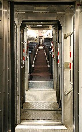 Amtrak train vestibule, skewed