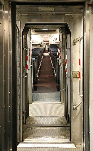 Vestibuled train - Amtrak regional train vestibule