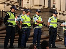 Victoria Police Officers Outside The Parliament Of