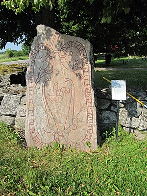 Vidbo Runestones - U 375 at the Vidbo Church.