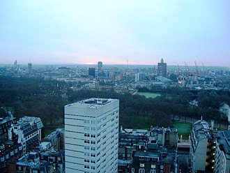 London Hilton on Park Lane - Buckingham Palace View from 27th floor at London Hilton on Park Lane