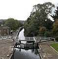 View from Dobson top lock, Leeds and Liverpool Canal, looking towards Apperley Bridge (geograph 4694204).jpg