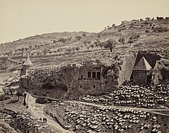 View in the Valley of Jehoshaphat (Tomb of Absalom and Tomb of Zechariah, Kidron Vallery, Jerusalem) RCIN 2700926.jpg