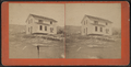 View of a house that has been lifted off its foundation, by William Allderige & Son.png