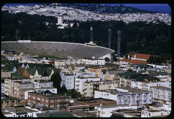 View over Kezar stadium from Mt. Olympus in San Francisco