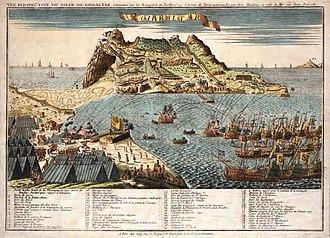 Great Siege of Gibraltar - Panoramic view of Gibraltar under siege from Spanish fleet and land positions in foreground