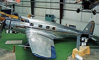 Vultee Aircraft - 1936-built Vultee V-1 executive aircraft, displayed at the Virginia Aviation Museum