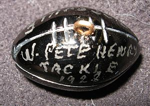 Pete Henry - Henry's small charm made from anthracite coal given to members of the 1928 Pottsville Maroons