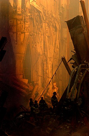 Emergency workers killed in the September 11 attacks - Rescue workers at the World Trade Center on September 14, 2001.