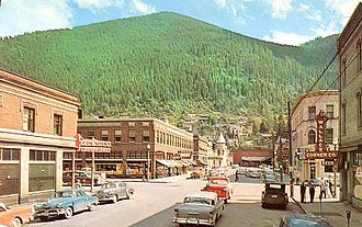 Wallace, Idaho - Downtown Wallace around 1956, old postcard