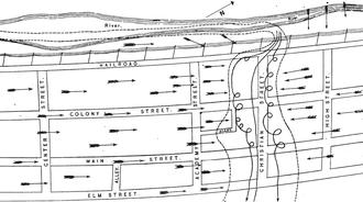 1878 Wallingford tornado - Map of the tornado's path through the town