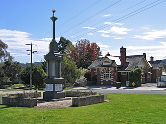 Bruthen, Victoria - The Bruthen War Memorial and Post Office on the Great Alpine Road
