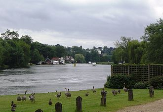 Marsh Lock - View of Wargrave across the river from Shiplake
