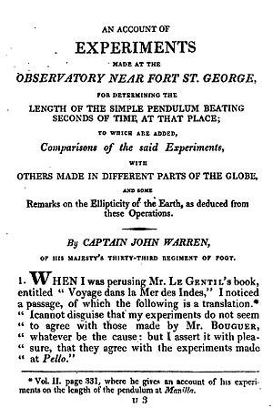 Jean Baptiste François Joseph de Warren - 1812 experiments with pendulums