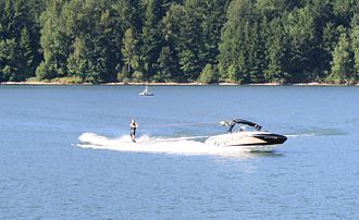 Foster Reservoir - Water skiing near the northwest edge of Foster Reservoir