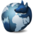 Waterfox's computer icon: Artistic impression of Earth's moon tinted blue