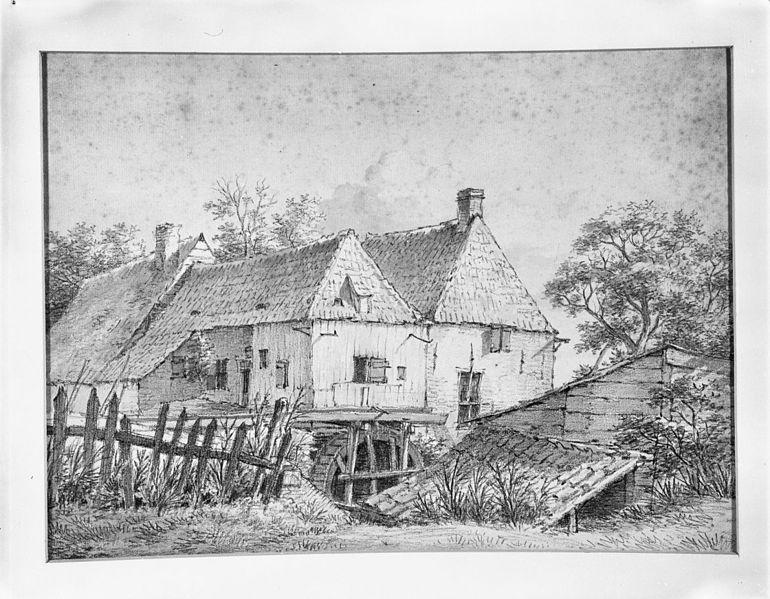 File:Watermolen, tekening in krijt en waterverf van D.Kerkhoff, ca. 1813, N.M. Commanderij 218. - Beek - 20028925 - RCE.jpg