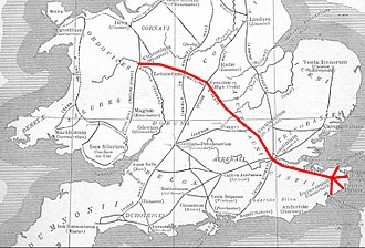 A5 road (Great Britain) - Roman Britain, with the route of Watling Street in red