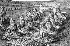 Fulling - Engraving of Scotswomen singing a waulking song while walking or fulling cloth, c. 1770.