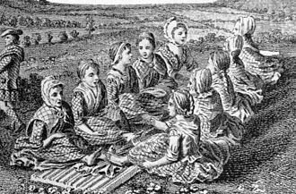 Waulking song - Engraving of Scotswomen singing while waulking cloth, c. 1770