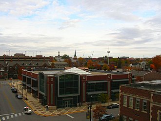 West Lafayette, Indiana - West Lafayette Public Library, with Purdue campus skyline in background