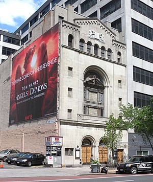 Congregation Beth Israel West Side Jewish Center - Billboard for the film Angels & Demons on the side of the synagogue building