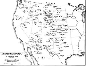 A black and white map of the Western United States showing fort, battle and tribe locations from 1860–1890.