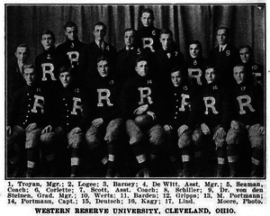"1908 Western Reserve football team - The image includes players Ed Kagy, Del Wertz, Milton ""Muff"" Portmann, and Ursus ""Doc"" Portmann"