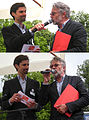 Wiener Tafel 20100618 192f Markus Hübl (PR manager of 'wiener tafel') presenting Adi Hirschal.jpg