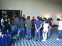 Wikimania 2015-Tuesday-Volunteers get instructions (2).jpg