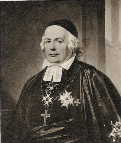 1840 Painting of Wilhelm Faxe, Bishop of Lund, great-great-grandfather of Leon de Greiff. Wilhelm Faxe 1840.jpg