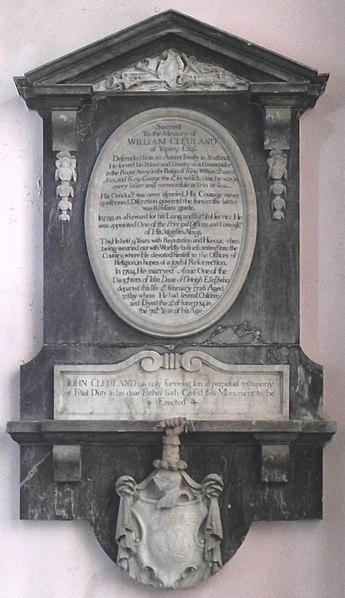 File:WilliamClevland Died1734 Monument WestleighChurch Devon.JPG