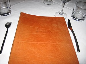 Wine list - The exterior of a restaurant's wine list