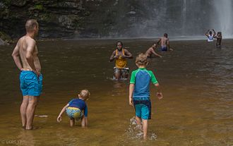 Wli waterfalls - Image: Wli tourists