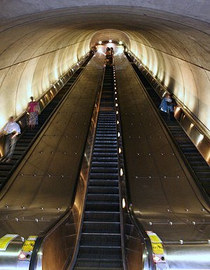 Woodley Park station - The second of three sets of escalators to reach the platform