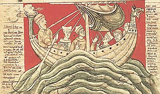 Hulk (medieval ship type) - A page from John of Worcester's Chronicle that depicts Henry I in a hulk ship. This chronicle is meant to show the dreams of Henry I.