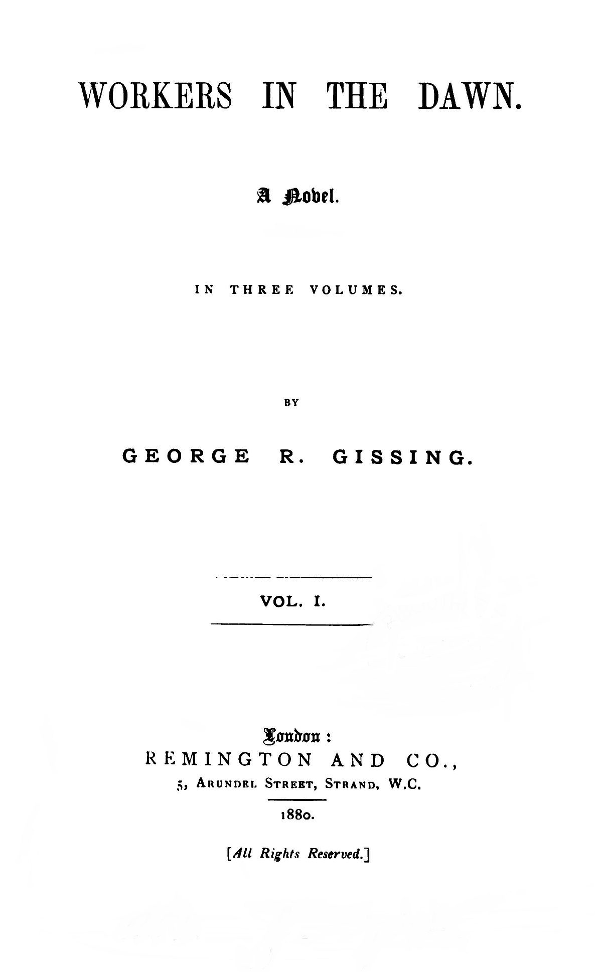 George Gissing: A Critical Study by Frank Swinnerton, 1923 ...