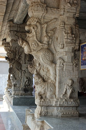 Venugopalaswamy Temple, Devanahalli - Image: Yali pillars at the entrance to the mantapa of the Venugopalaswamy temple in the Devanahalli fort