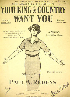 Your King and Country Want You - Original sheet music from 1914.